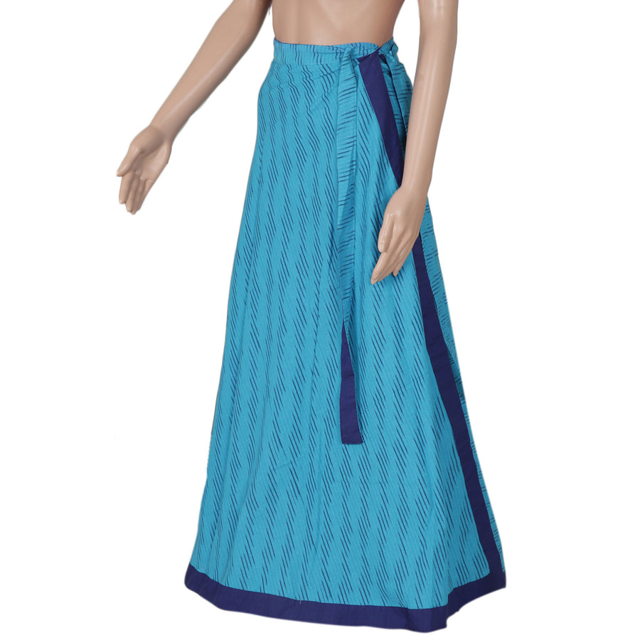 Ikkat Sky Blue and Blue wrap around skirt