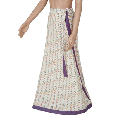 Ikkat Off white and Violet wrap around skirt for Rs.Rs. 920.00 | Skirt by Prashanti Sarees