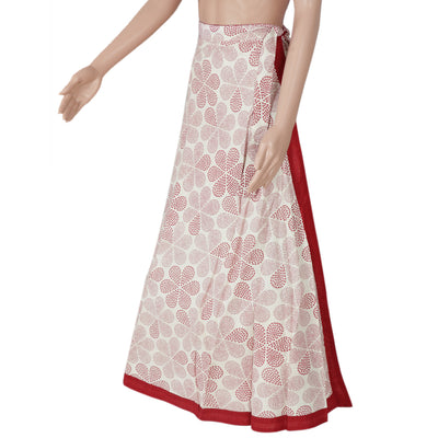 Cotton Off white and Maroon wrap around skirt