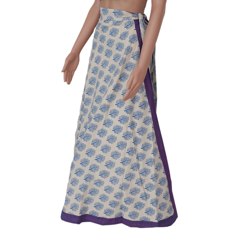 Cotton Off white and Violet wrap around skirt