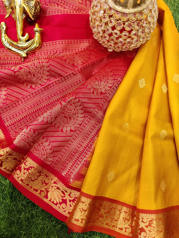 Pure Kanchivaram Silk saree mustard yellow and red with zari woven buttas and zari woven border