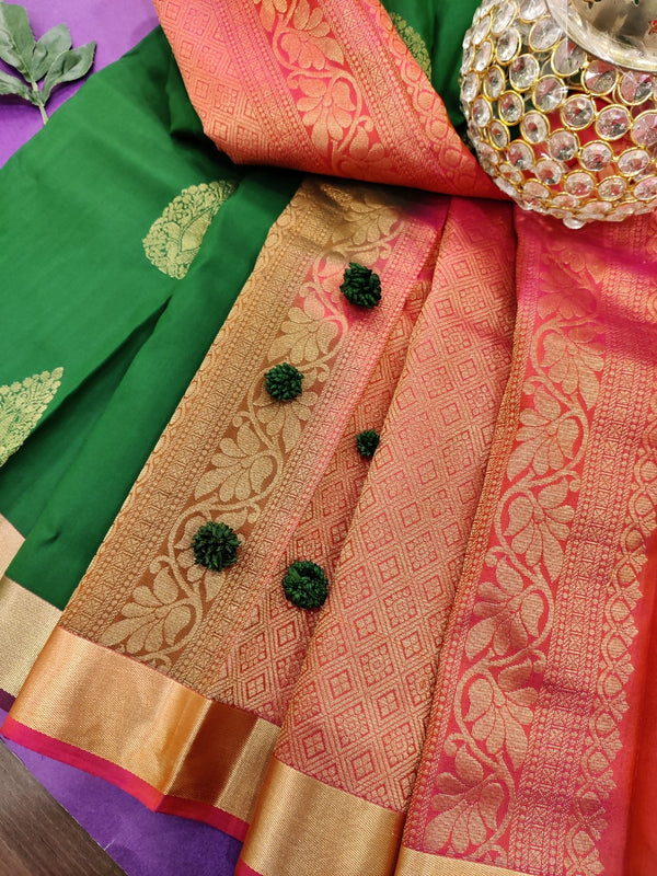 Pure Kanchivaram Silk saree green and pink with zari woven buttas and zari woven border