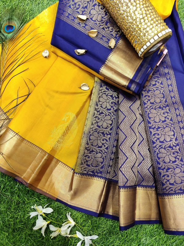 Pure Kanchivaram Silk saree yellow and navy blue with zari woven buttas and zari woven border