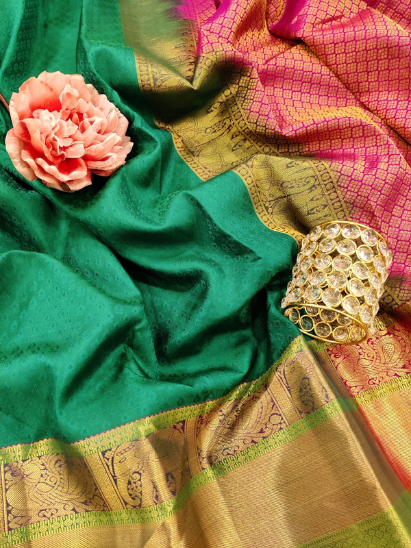 Pure Kanchivaram Silk saree green and pink with allover self emboss and zari woven border