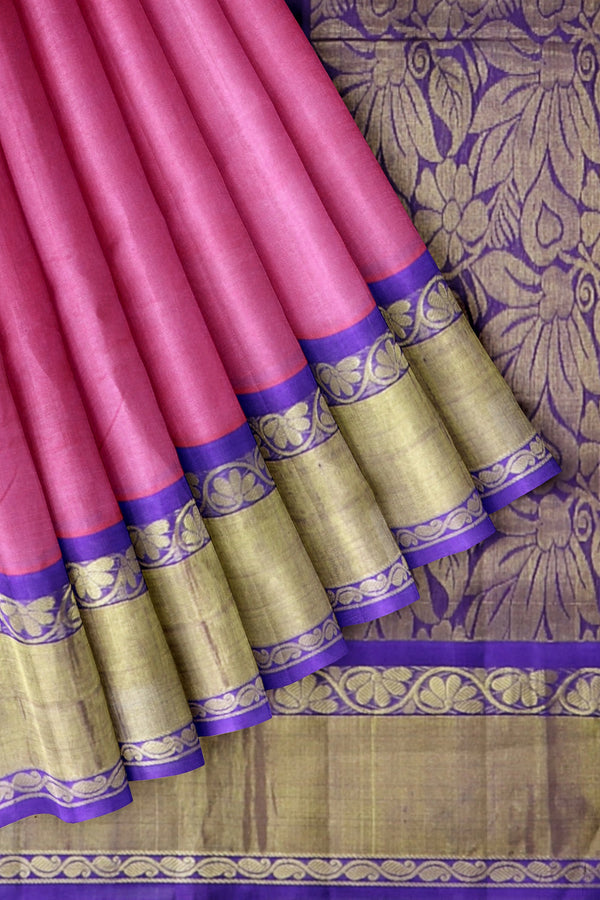 Silk Cotton saree Pink with violet korvai long zari border
