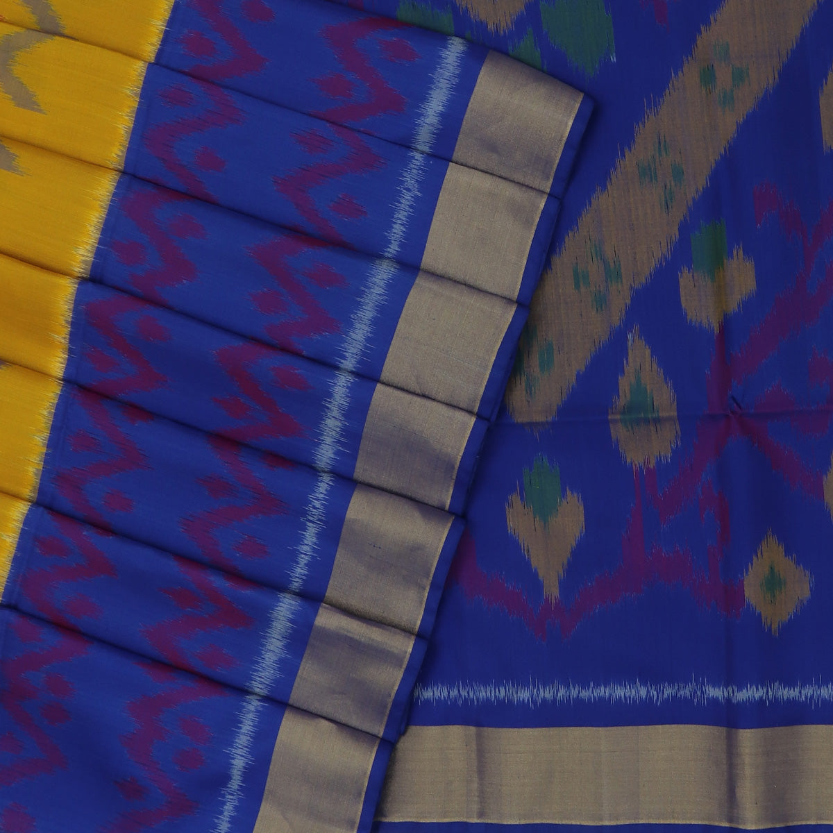 Pochampally Pure Silk Saree Yellow and Blue with Ikkat Design