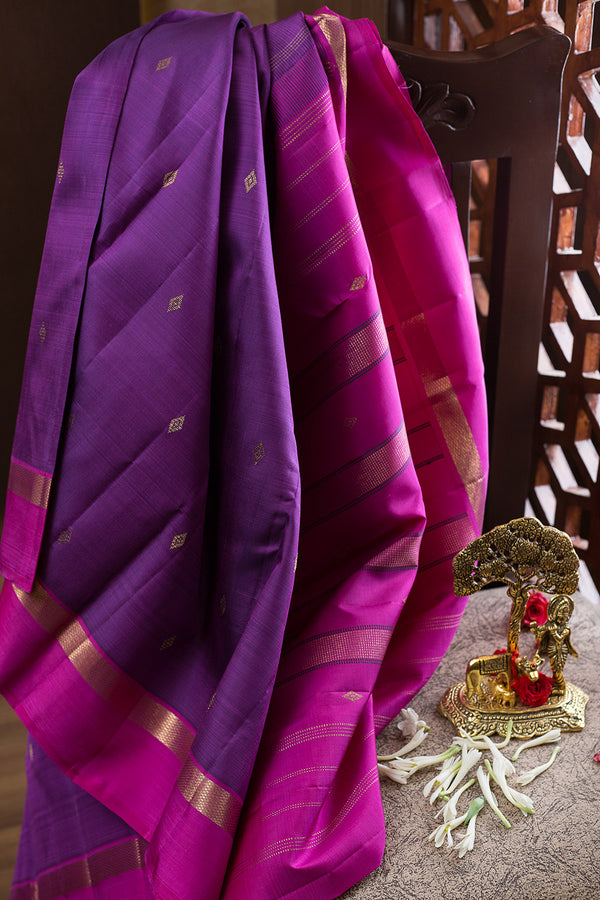 kanjivaram Silk Sarees Violet with Diamond Buttas and Pink with Zari Border