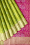 Soft Silk Saree light green with pink all over zari