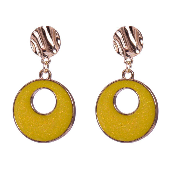 Yellow metallica earrings