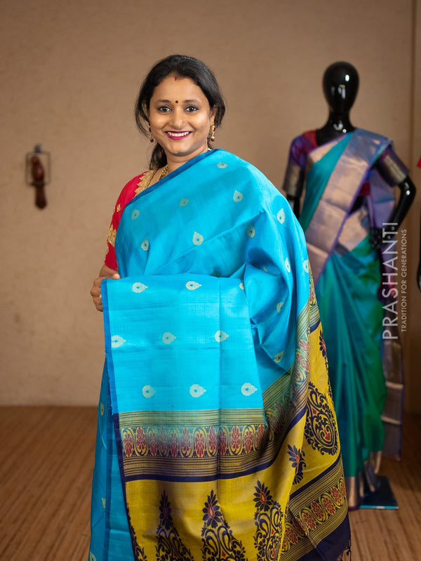 Pure soft silk saree CS blue and navy blue with thread buttas in borderless style and jute finish
