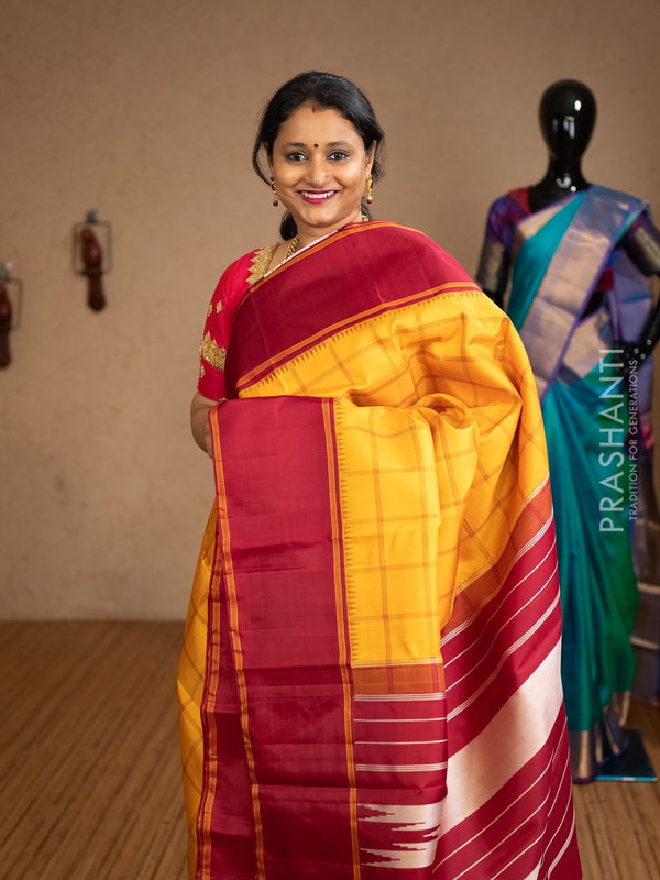 Pure kanjivaram silk saree yellow and maroon with temple korvai border and checked body for Rs.Rs. 13390.00 | by Prashanti Sarees
