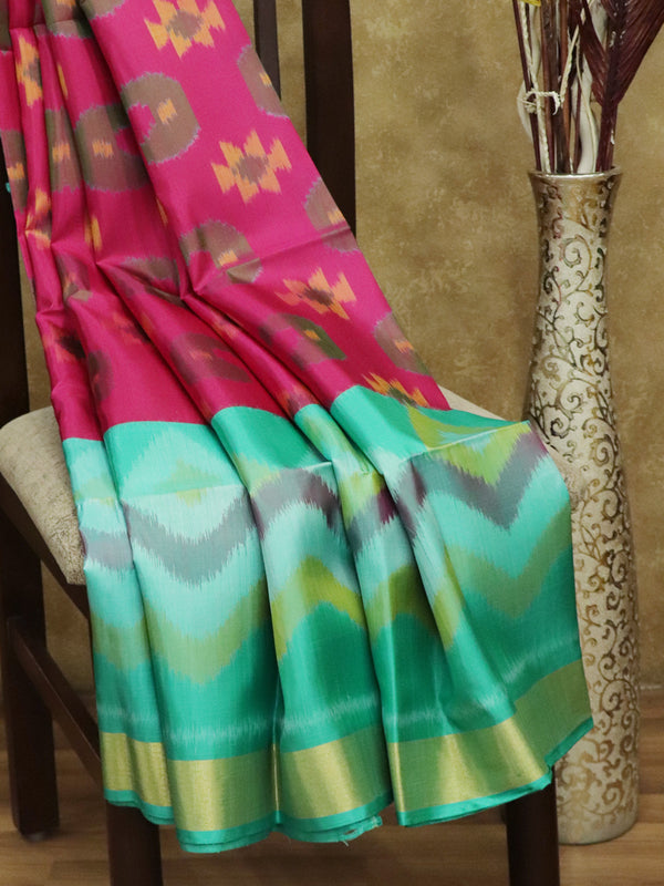 Ikkat Soft Silk Saree  pink and teal with Kaddi Zari Border