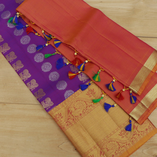 Pure Silk half saree set purple with golden buttas and dual tone pink blouse and dupatta