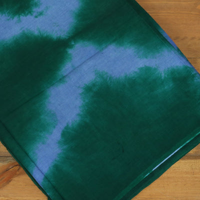 Semi Silk Batik Saree with Green and Blue