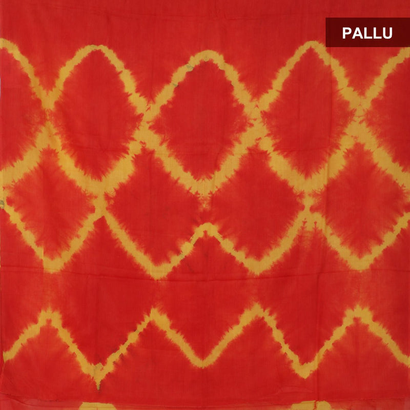 Semi Silk Batik Saree with Red and Yellow