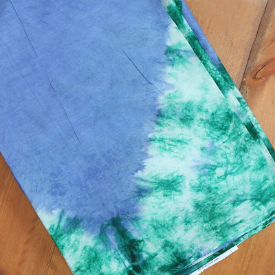 Semi Silk Batik Saree with Blue and Green