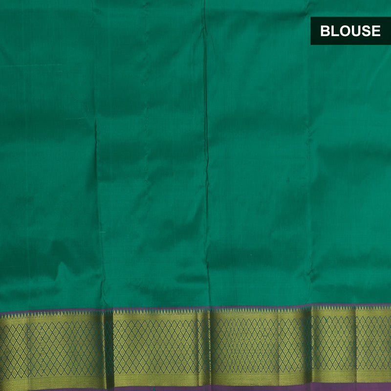 Pure silk pavadai material bottle green with overall paisley zari buttas and golden zari checked border for 0 to 2 years