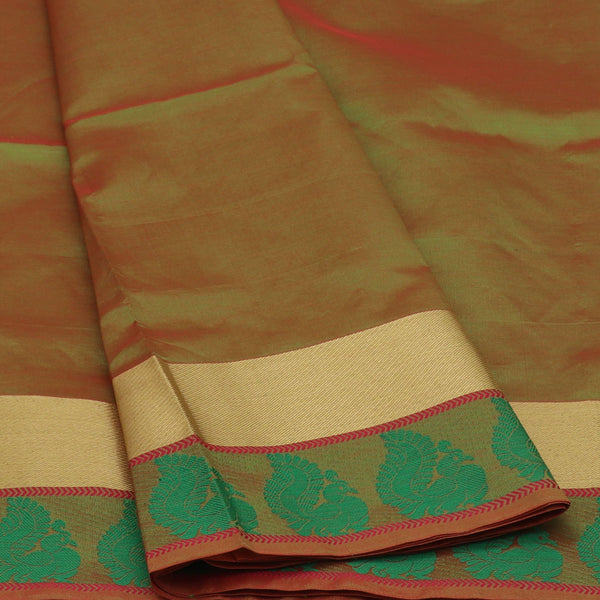 Semi Silk Cotton Saree Green and Pink with Peacock border
