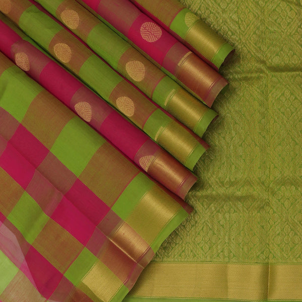 Silk Cotton Saree Paazhum Pazhamum Checks Mehandi Green and Pink with Rudraksha Buttas and Zari border