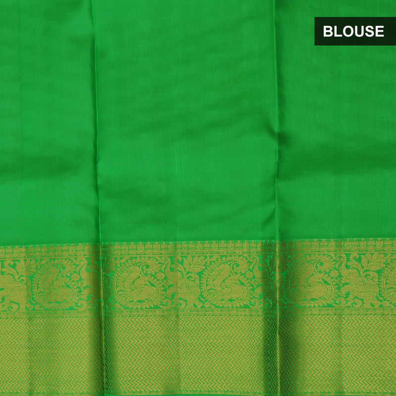 Pure Silk Pavadai dual tone pink with green with zari buttas 6 to 10 years