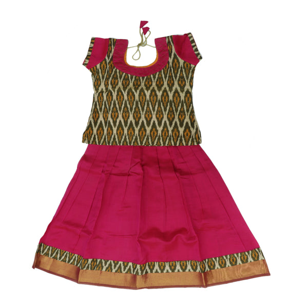Silk cotton pavadai sattai pink with ikkat pattern blouse and zari border - 7 years