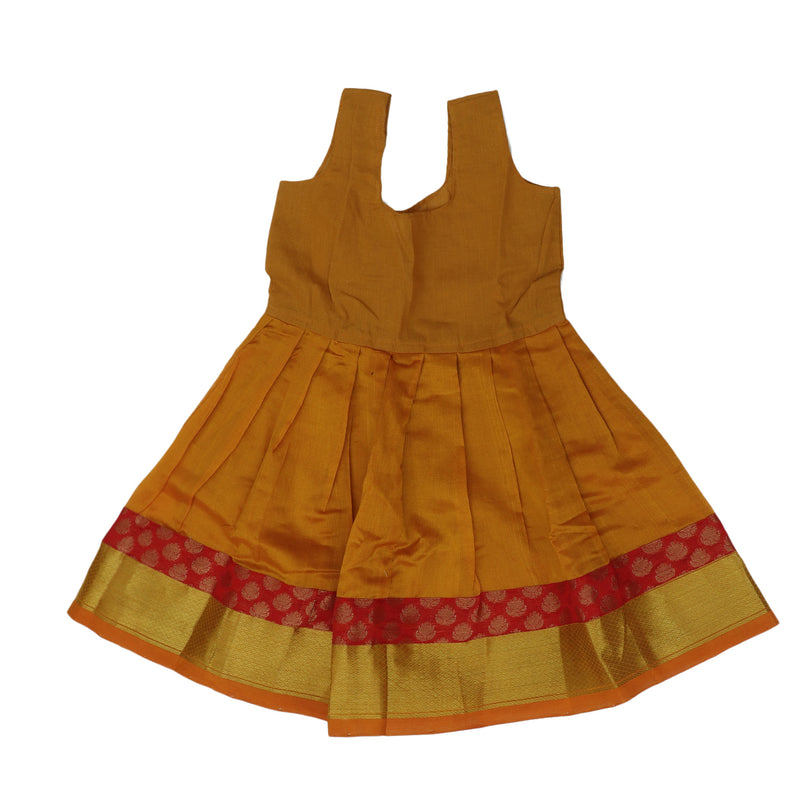 Silk cotton paavadai sattai mango yellow and red Brocade blouse with golden zari border ( 1 years )