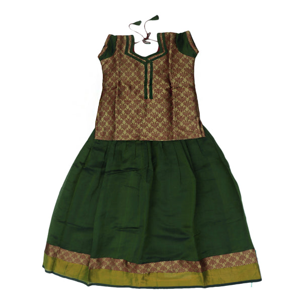 Paavadai Sattai-Golden Color with Maroon Thread Floral and Moss Green with Zari border(10 years)