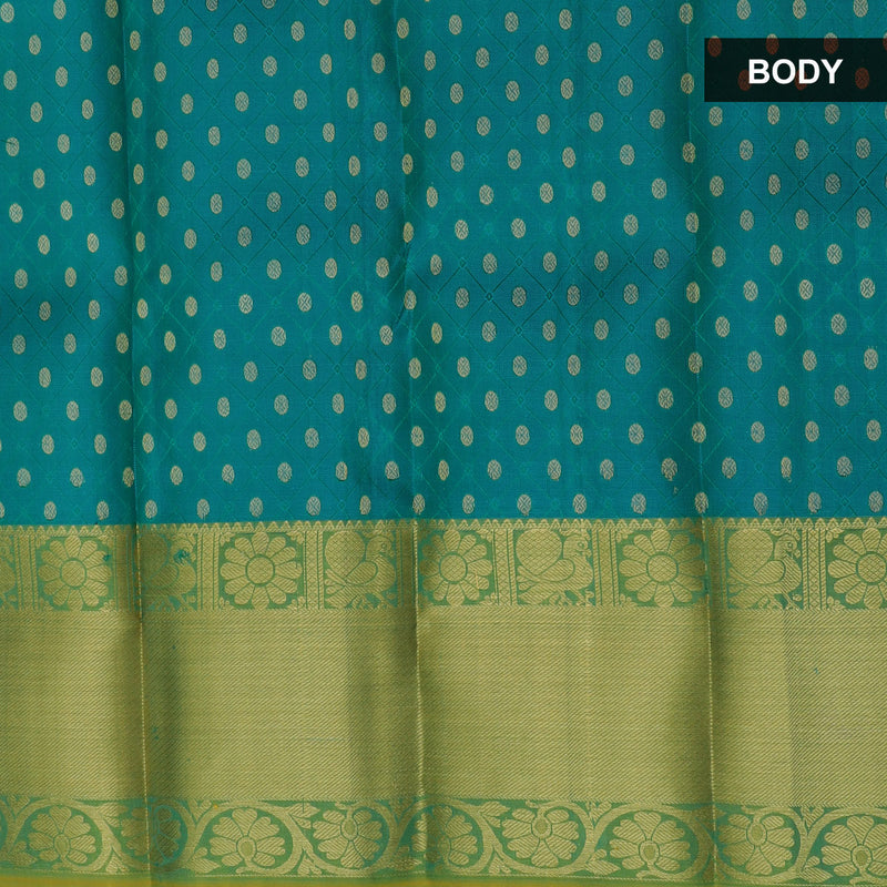 Pure Silk Pavadai material peacock blue with green zari embossed design 0 to 2 years