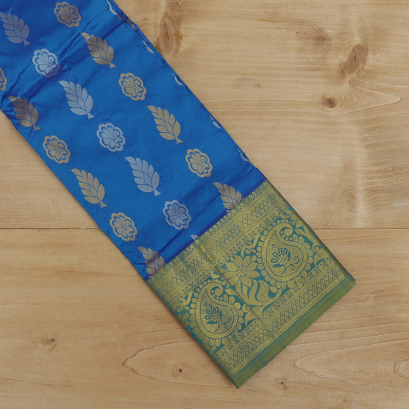 Pure Silk Pavadai material blue with green zari buttas 3 to 5 years