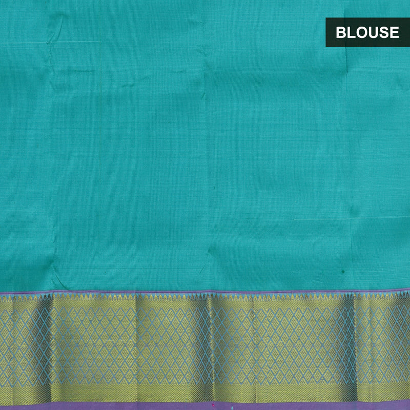 Pure silk pavadai material blue and dual shade of green with overall zari buttas and zari border for 0 to 2 years