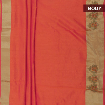 Art Silk Saree Orange with Embroidery and Simple border