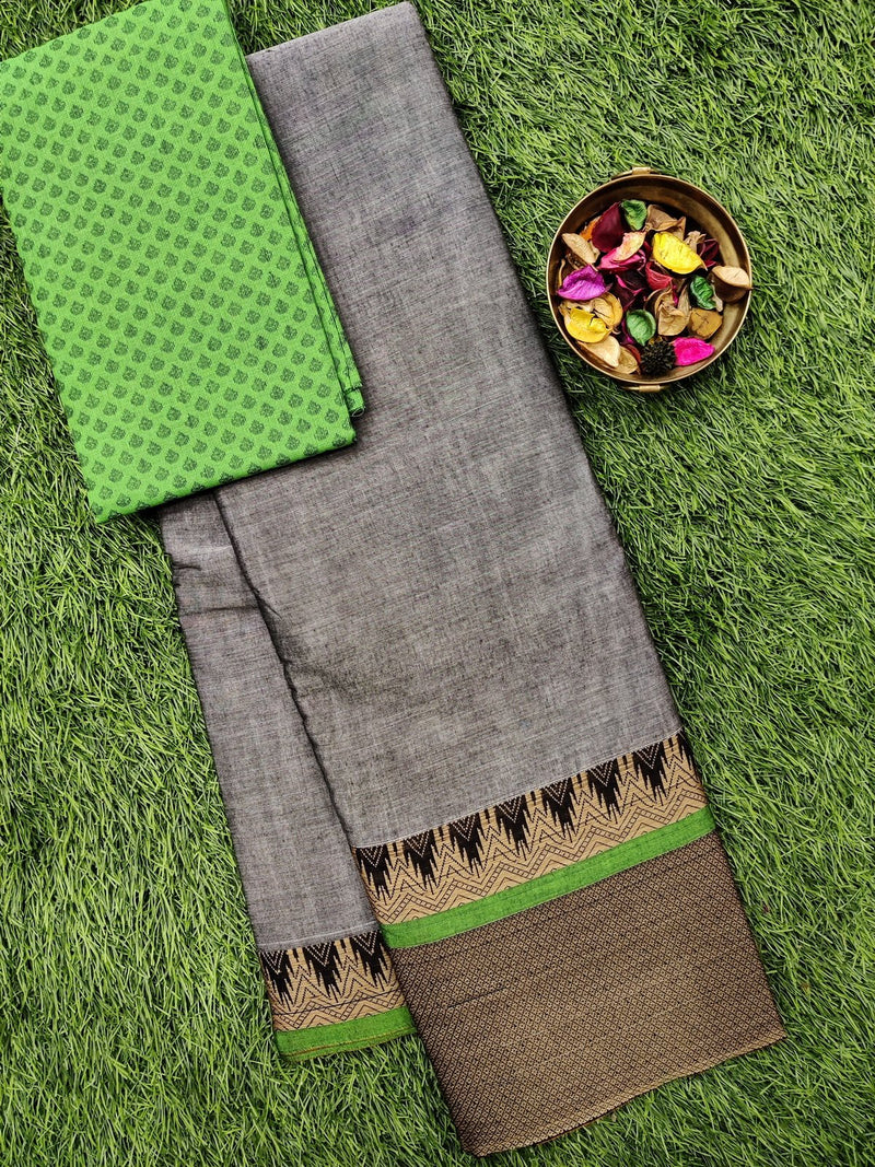 Narayanpet cotton saree grey and green with woven blouse