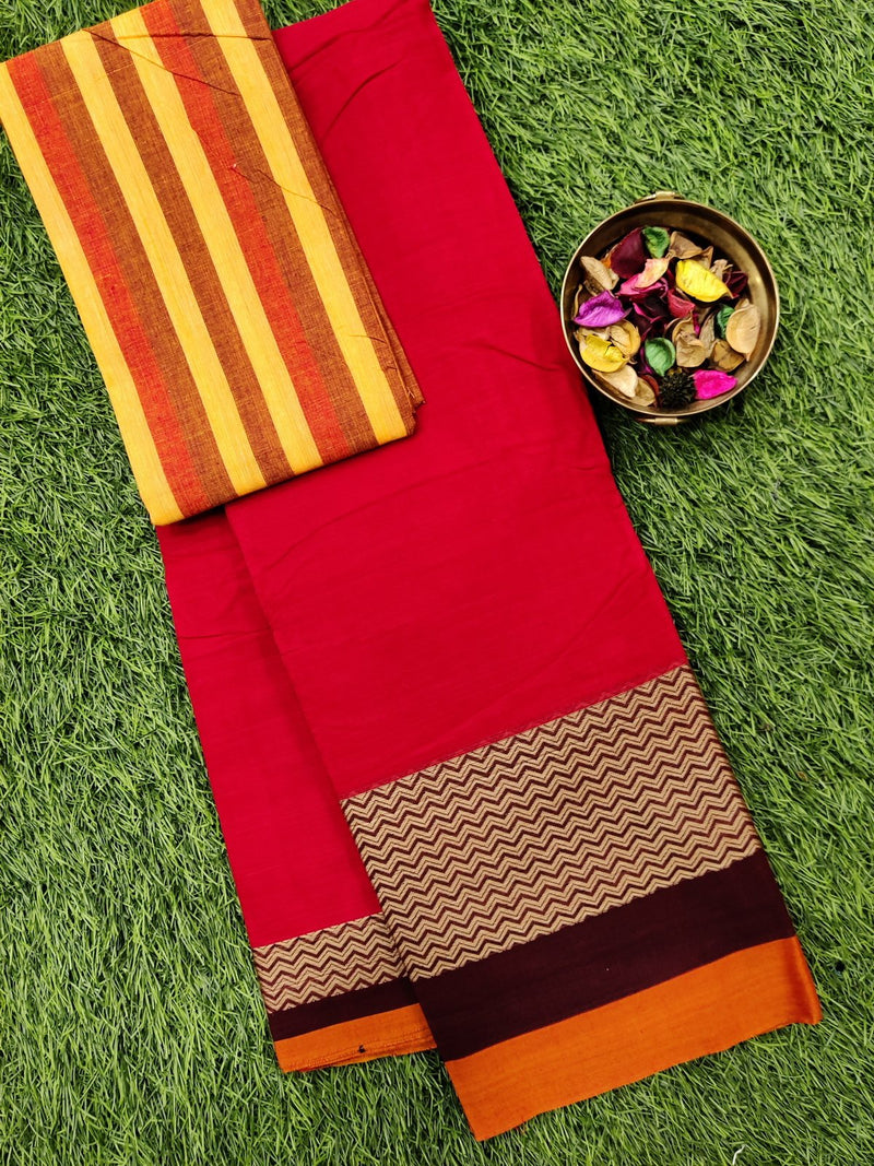 Narayanpet cotton saree red and maroon with woven blouse
