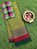 Narayanpet cotton saree green and black with woven blouse