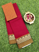 Narayanpet cotton saree maroon and mustard with woven blouse