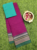 Narayanpet cotton saree magenta and green with woven blouse