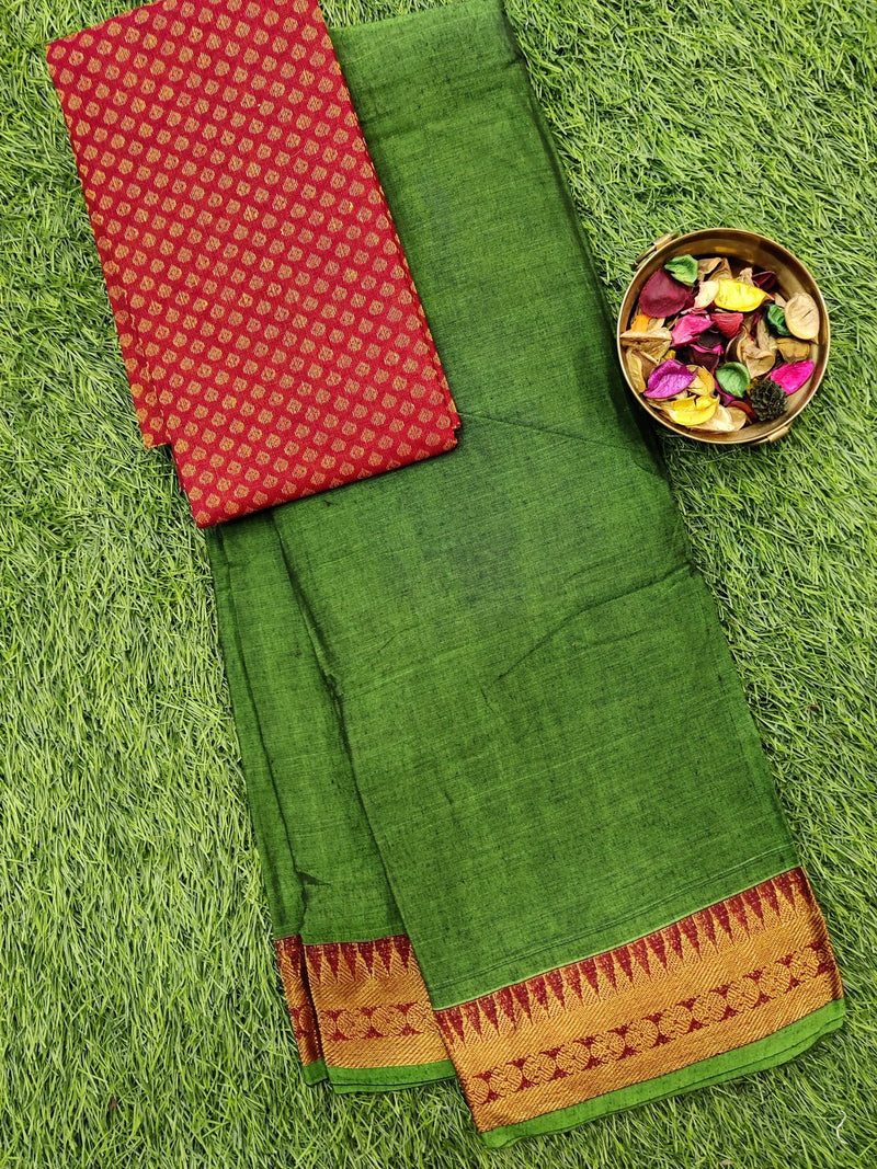 Narayanpet cotton saree green with woven blouse