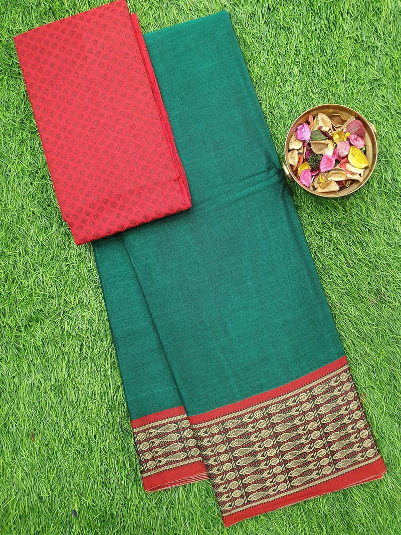 Narayanpet cotton saree green and red with woven blouse