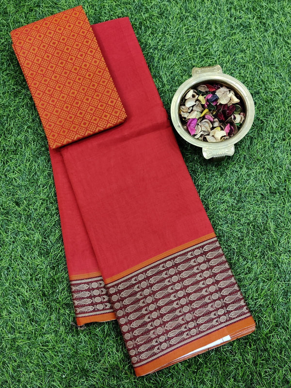 Narayanpet cotton saree red and orange with woven blouse for Rs.Rs. 1450.00 | by Prashanti Sarees