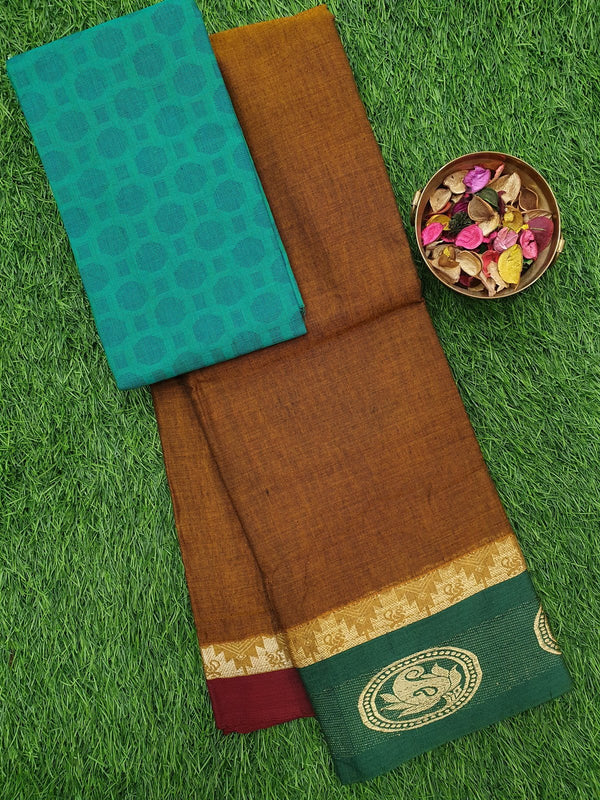 Narayanpet cotton saree honey and green with woven blouse
