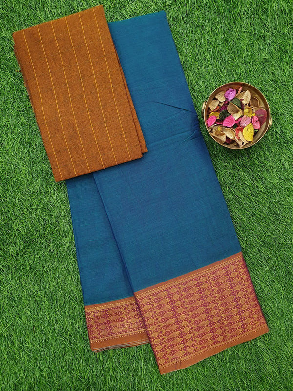 Narayanpet cotton saree dual shade of peacock blue and maroon with woven blouse