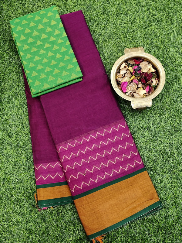 Narayanpet cotton saree wine and mustard with woven blouse