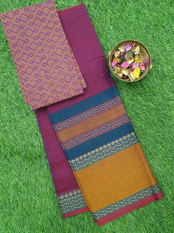 Narayanpet cotton saree magenta pink and honey with woven blouse