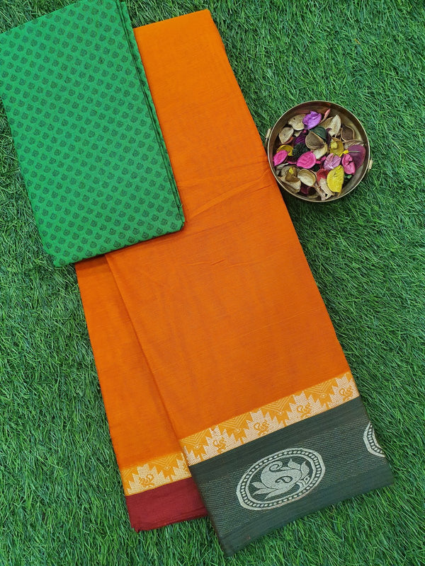 Narayanpet cotton saree orange ganga jamuna border with woven blouse