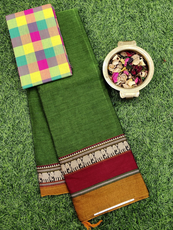 Narayanpet cotton saree green and maroon with woven blouse
