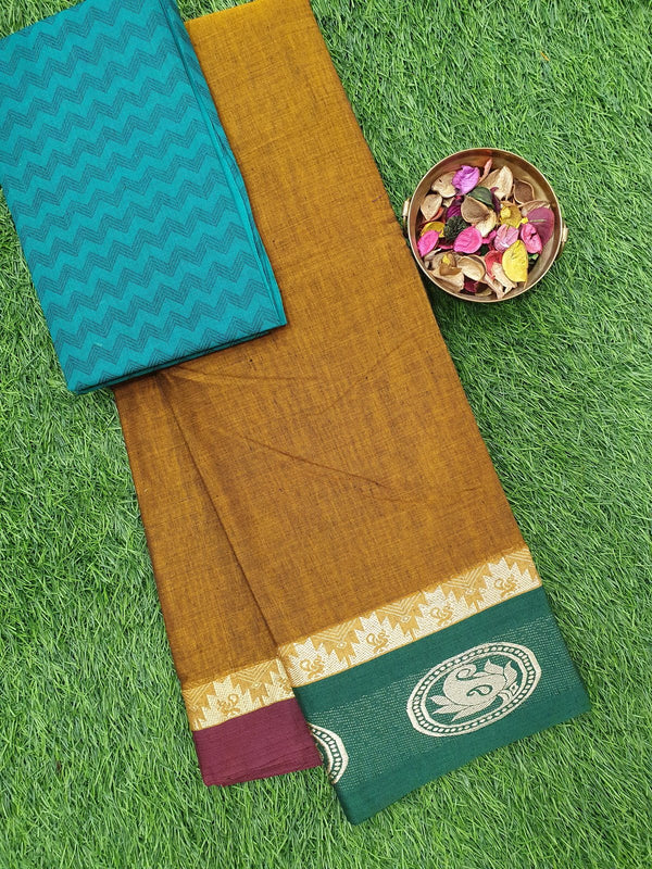 Narayanpet cotton saree mustard ganga jamuna border with woven blouse
