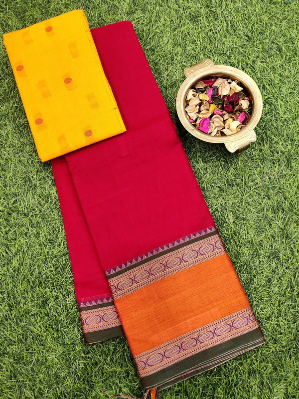 Narayanpet cotton saree red and rust orange with woven blouse