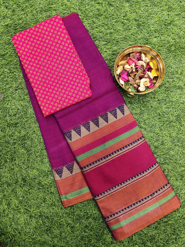 Narayanpet cotton saree magenta pink and rust with woven blouse