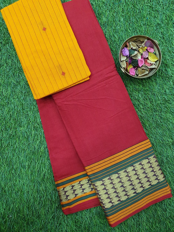 Narayanpet cotton saree red and green with woven blouse