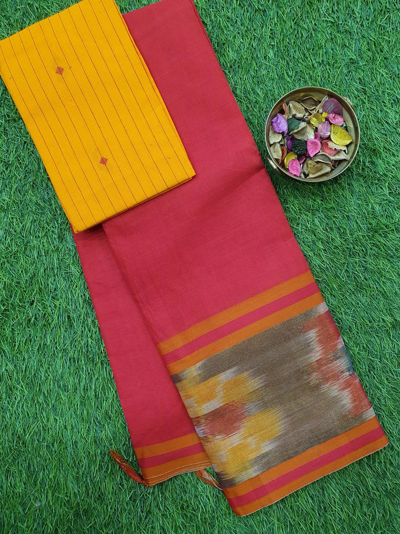 Narayanpet cotton saree red with woven blouse